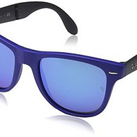 Ray Ban RB4105 Fold Wayfarer Sunglasses-6020/17 Blue (Blue Mirror Lens)-54mm
