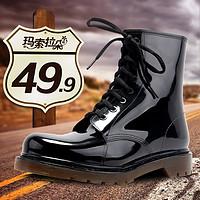 全地形时尚新款欧美男士雨鞋时尚中高筒马丁雨靴防滑功能水鞋套鞋