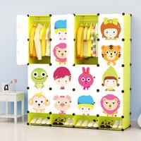 蔻丝 创意百变儿童简易衣柜 居家环保大容量树脂卡通衣柜子收纳柜 清新加深果绿16门12格2挂带鞋格
