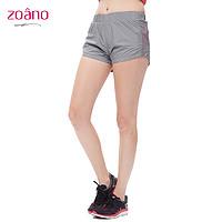 佐纳zoano 女运动短裤 透气快干女短跑步裤瑜伽裤女假两件秋冬