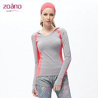 zoano佐纳 春秋跑步运动T恤女长袖健身服紧身卫衣瑜伽服女