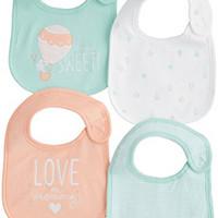 Carters Girls Baby 4-pk. Sherbet Sky Bib Set One Size Multi