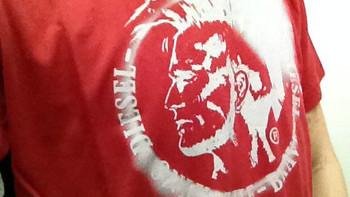 DIESEL 迪赛 男士圆领T恤 人头logo款