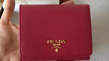 PRADA 普拉达 桃红色女士短款 牛皮钱包