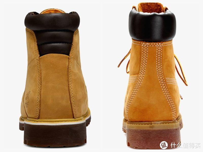 背面加垫靴领不一样。