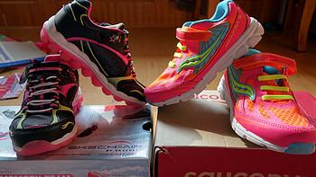 送给女儿的生日礼物:美亚海淘 Skecher 斯凯奇 kids Skech air & Sauocny girls baby kinvara5 女童跑鞋