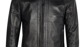 在乍暖还寒的春天,你值得拥有:SELECTED  思莱德  男士黑色立领拉链绵羊皮夹克