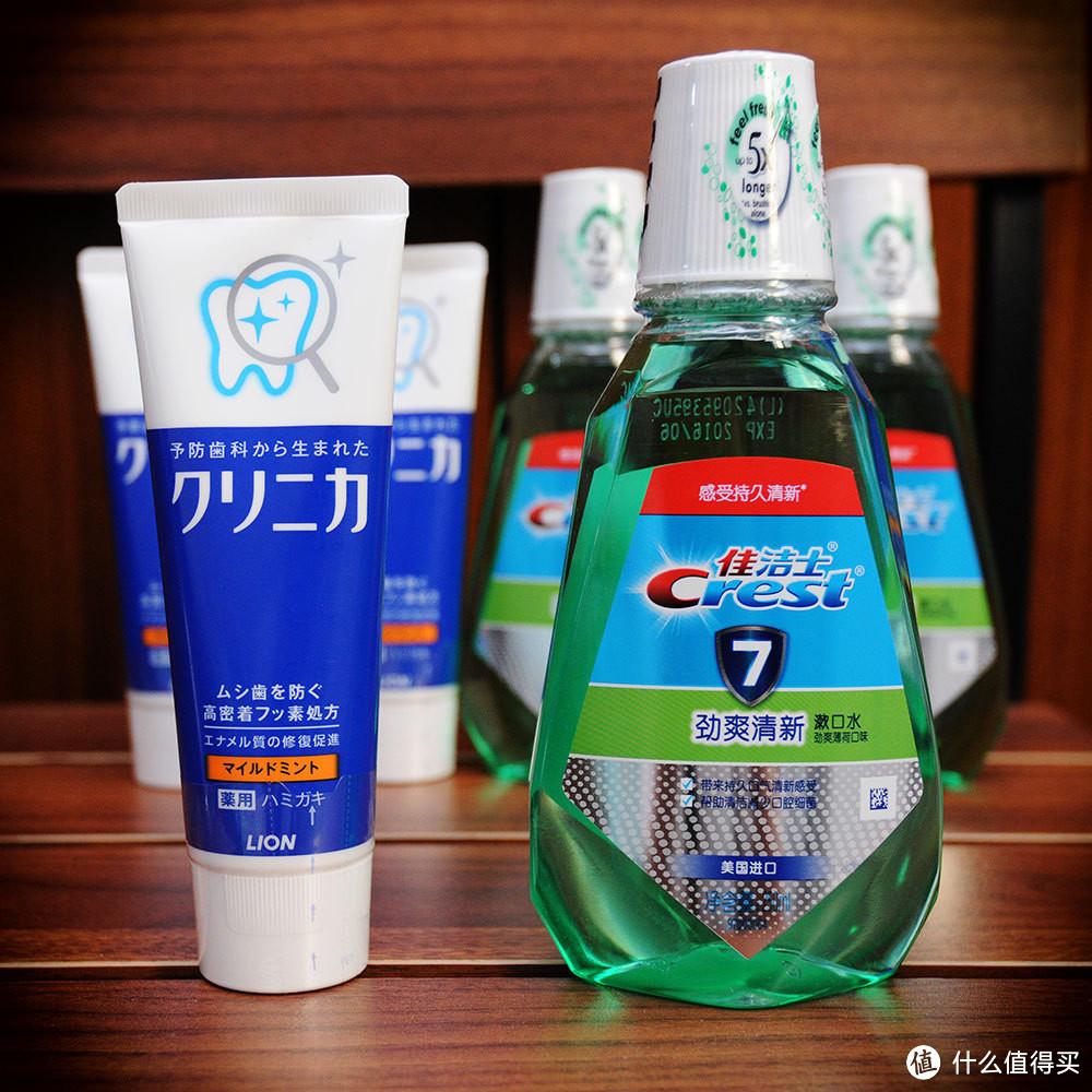 小评 Lion 狮王CLINICA 酵素洁净立式牙膏和 Crest 佳洁士CREST 劲爽清新漱口水