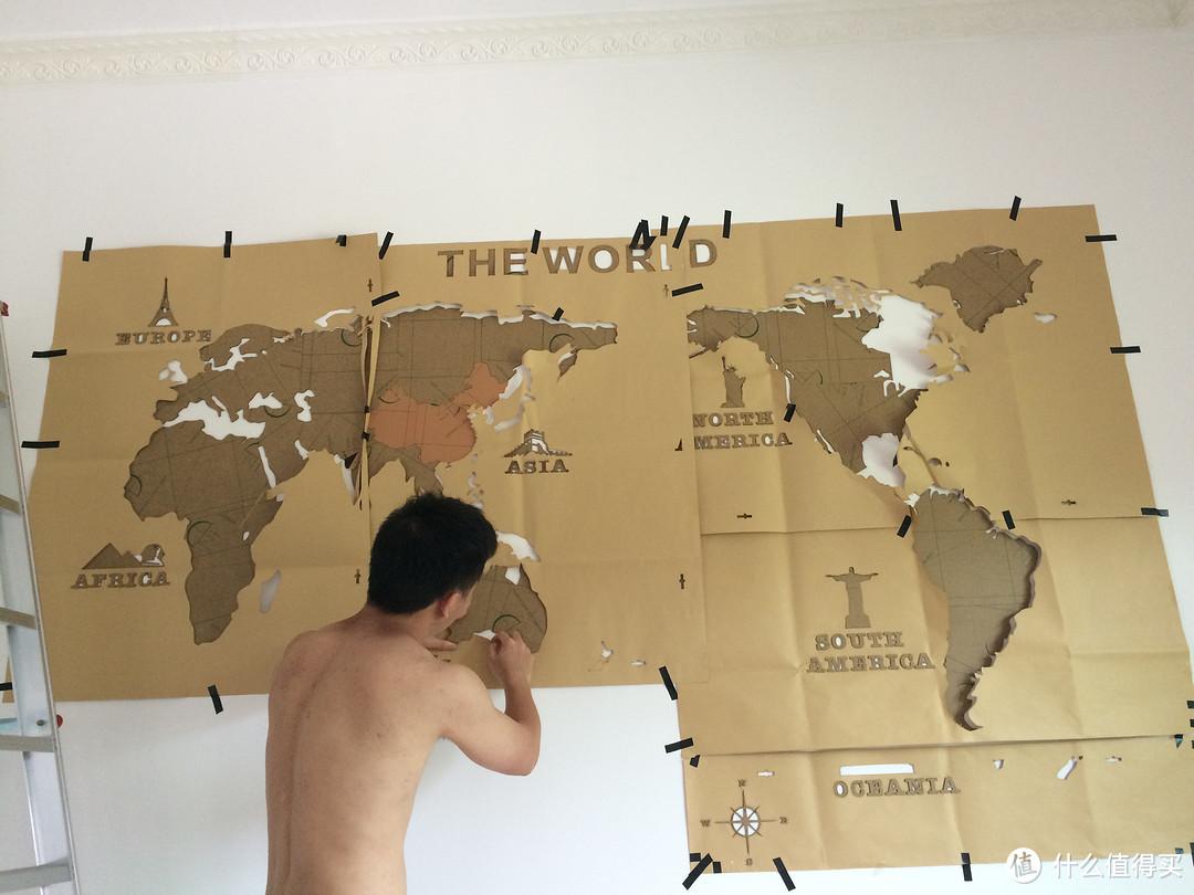 想和你游遍世界每个角落:世界地图亚克力立体墙贴