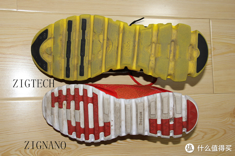 上ZIGTECH 和下ZIGNANO的鞋底纹路对比