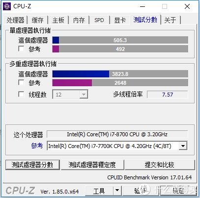 处理器方面通过CPU-Z简单跑分对比7700K多核提升非常明显,这是笔记本无法达到的效果。