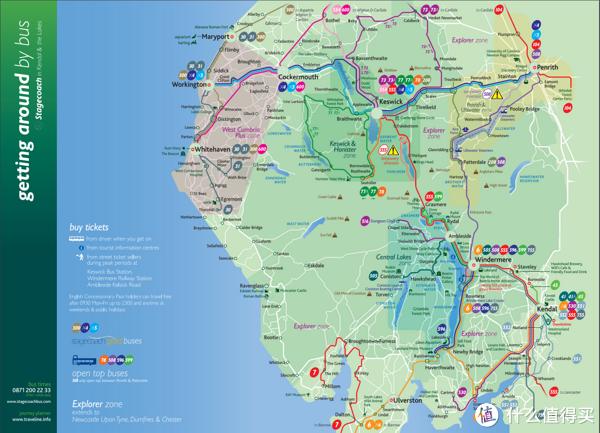 湖区公交线路图,图片来自https://www.stagecoachbus.com