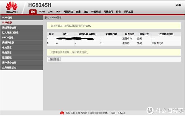 操作没问题重启后光猫VOIP显示注册成功