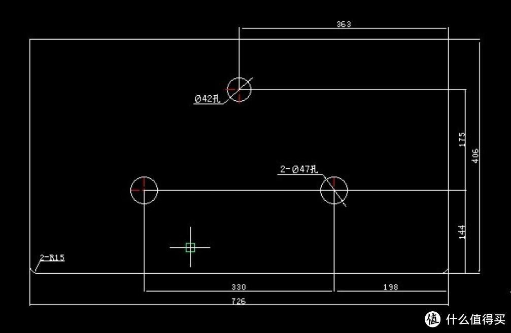 这个最后发现圆角弧度大了,没有工具果然不行,不过这个尺寸也可以用,把406改成407就可以了。也就是总长度加长1毫米就好了。