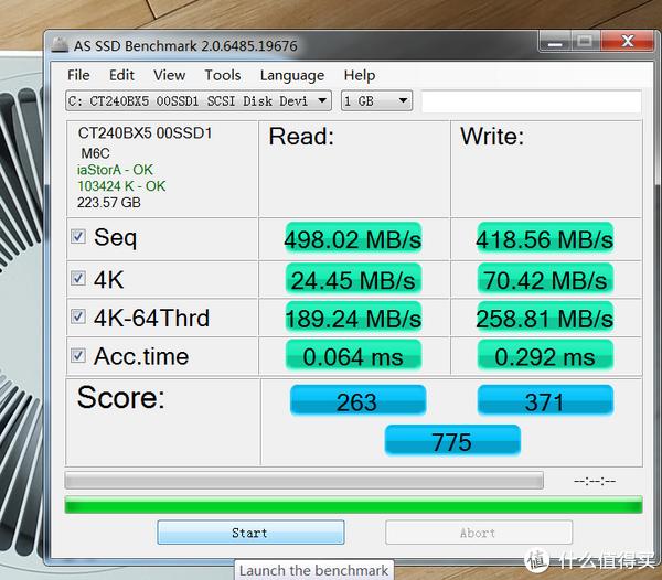 """AS SSD跑了两遍,""""成绩""""相比本站其它BX500晒单文更低"""
