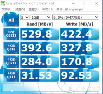 M600 DiskMark测速