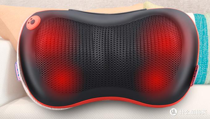 按摩枕也是1D按摩机芯,图为荣泰的一款按摩枕,很多按摩枕也有红外加热的功能