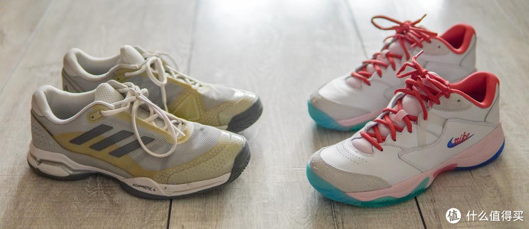 左边是之前穿的Adidas网球鞋,购于工厂店