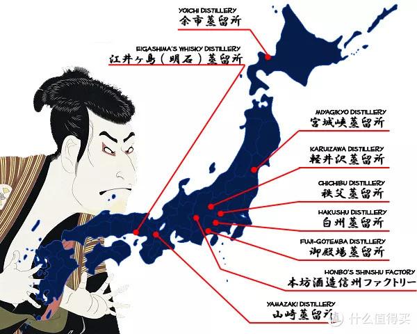 日本主要蒸馏厂(图片来源:animecon)