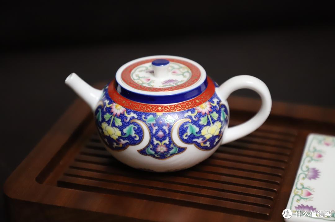 苏氏陶瓷 珐琅彩描金陶瓷茶具配花梨实木茶盘套装