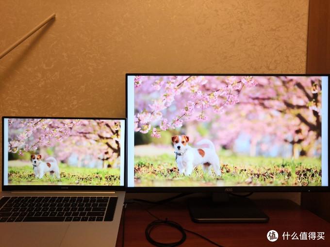AOC U28P2U 28寸 4k显示器对比笔记本自带屏幕