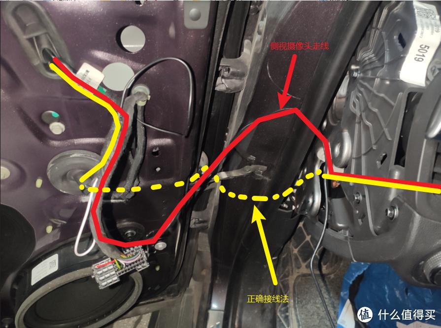 将连接线穿进车内,这里我偷懒直接采用了明线,正确的做法应该是按照黄色指示线走暗线进车内。
