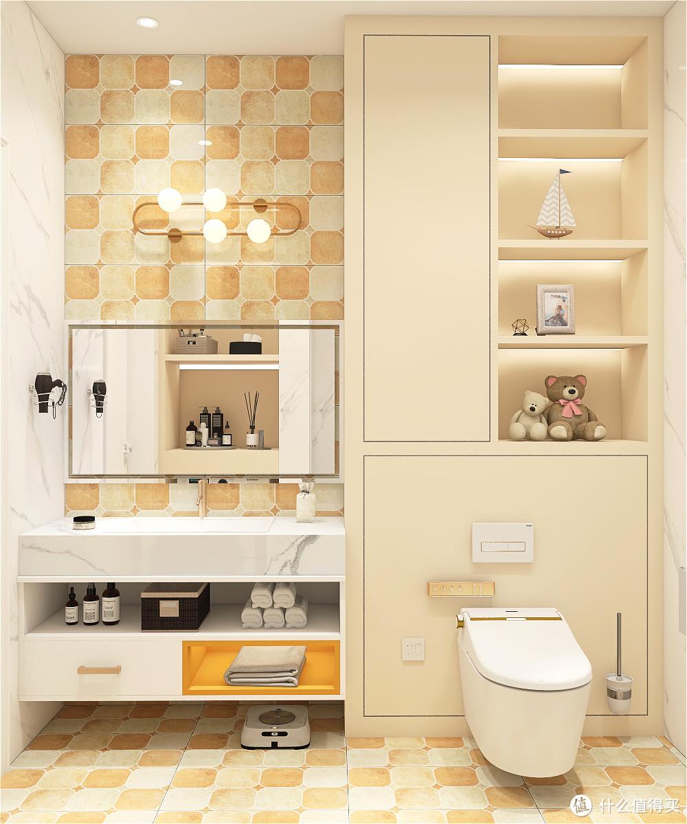 利用活泼的柠檬黄色彩,打造出温馨又浪漫的北欧风卫生间,喜欢这种风格小可爱赶集记下来
