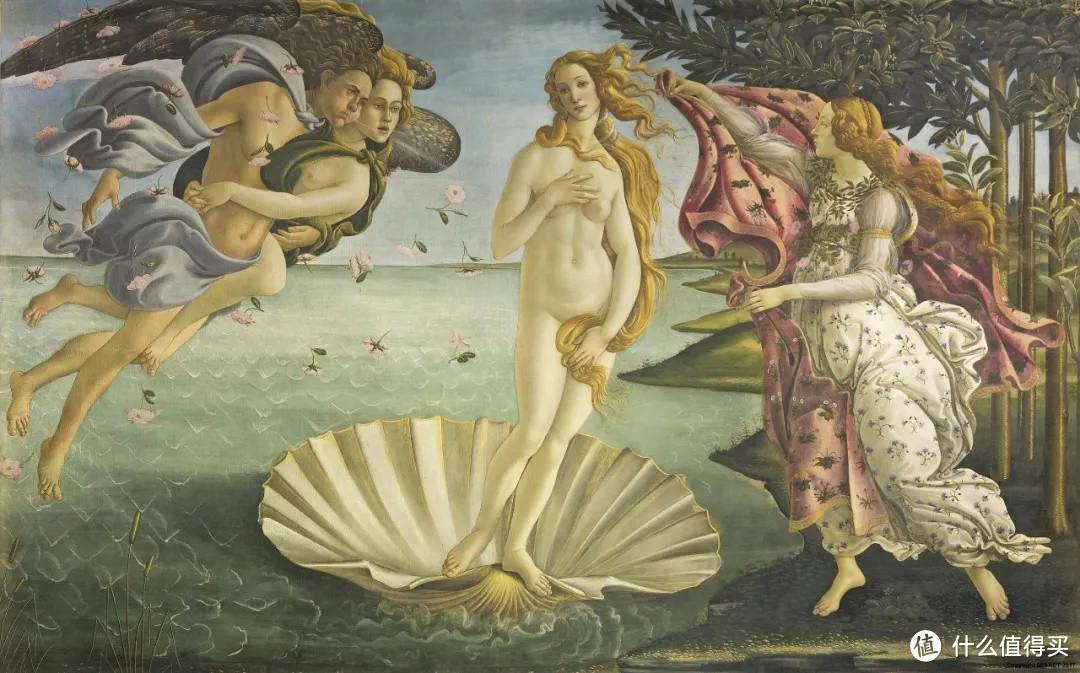 《维纳斯的诞生》 波提切利  1487年  现收藏在意大利佛罗伦萨乌菲兹美术馆