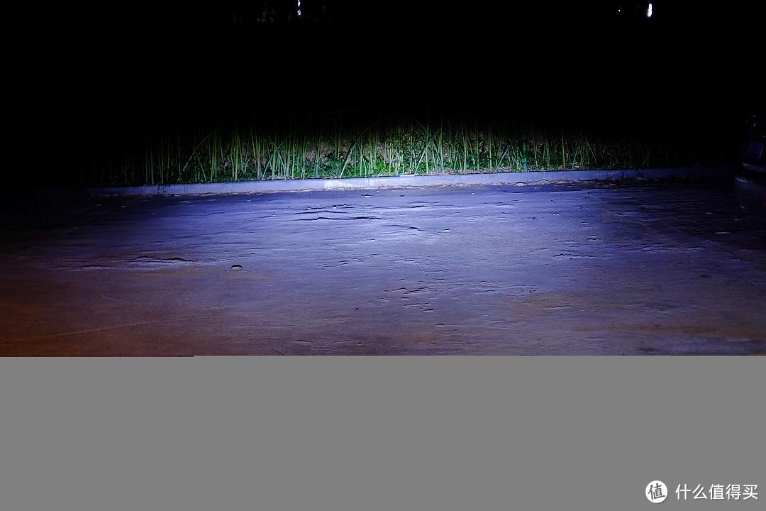 远光灯开启效果,到前方竹林距离大概有20m