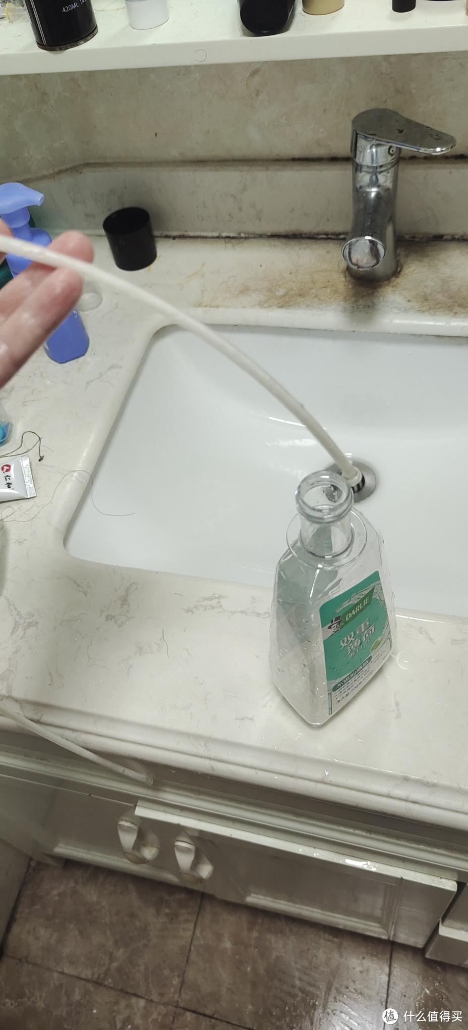 配上长管 型号是3*5的 只需要用50公分不到 用的是黑人漱口水瓶子 瓶口钻孔